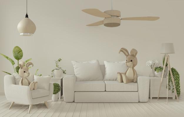 Poster frame and white sofa on white living room interior.3d rendering