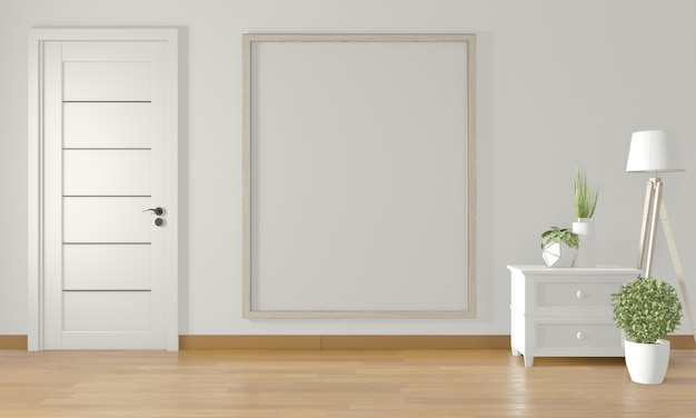 Poster frame on white wall and white door and decoration minimal .3d rendering