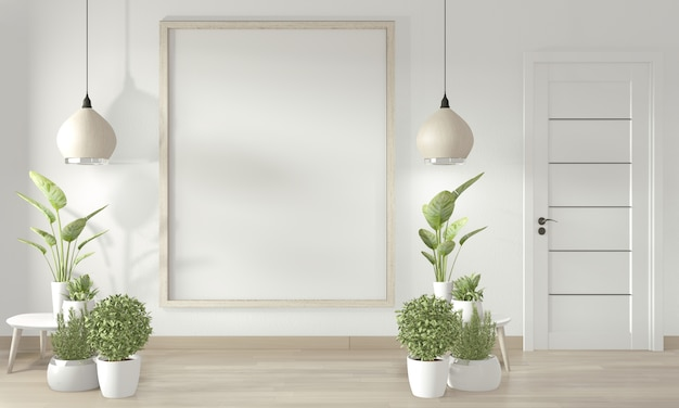 Poster frame on white wall and white door and decoration minimal design.3d rendering