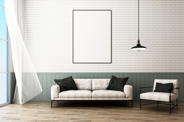 Poster frame with decorate brick wall and armchair scandinavian style 3d render