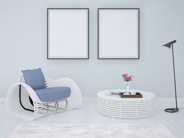 Poster frames background with armchair and coffee table