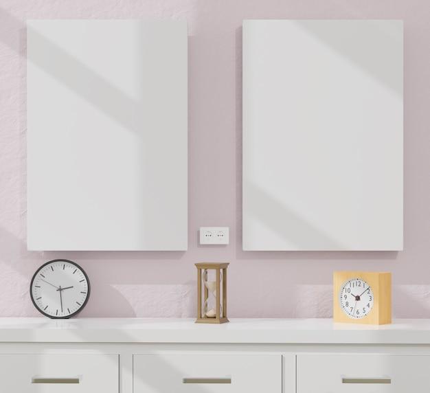 Рамки для плакатов в гостиной и кабинете с часами