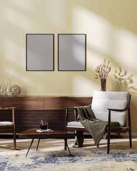 포스터 프레임은 밝은 갈색 톤, 스칸디나비아 스타일, 3d 그림으로 조롱된 아늑한 현대적인 거실 내부에서 조롱됩니다.