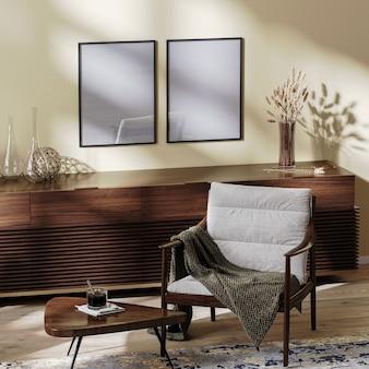 포스터 프레임은 거실 내부에서 조롱하고, 커피 테이블과 장식이 있는 아늑한 안락의자, 생활 환경, 가정 내부, 3d 렌더링