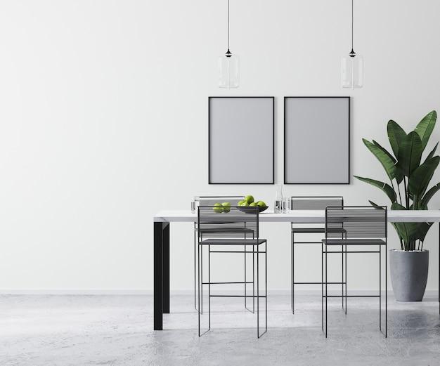 포스터 프레임은 현대적인 바 테이블과 바 의자, 스칸디나비아 미니멀리즘 스타일, 3d 렌더링을 갖춘 현대적인 밝은 흰색 실내에서 조롱합니다.