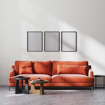 포스터 프레임은 빨간색 소파와 나무 커피 테이블, 흰색 벽, 원시 콘크리트 바닥, 스칸디나비아 미니멀리즘 스타일, 3d 렌더링을 갖춘 현대적인 거실 내부를 조롱합니다.