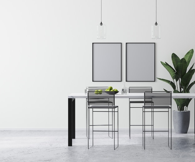 海报框架模拟在现代明亮的白色房间内部与当代酒吧桌子和酒吧凳子,,斯堪的纳维亚极简主义风格,3d渲染