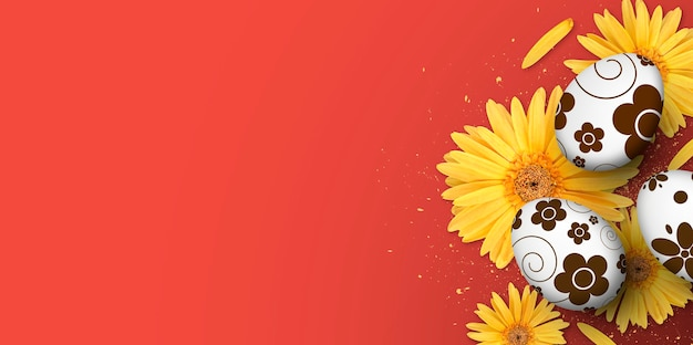 Poster, greeting card and banner template with easter eggs and yellow gerbera flower on red