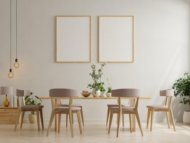 白い空の壁とモダンなダイニングルームのインテリアデザインのポスター。3dレンダリング