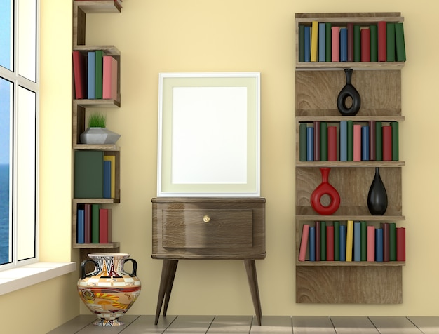 Poster layout frame with yellow  wall and books, interior background, 3d visualization
