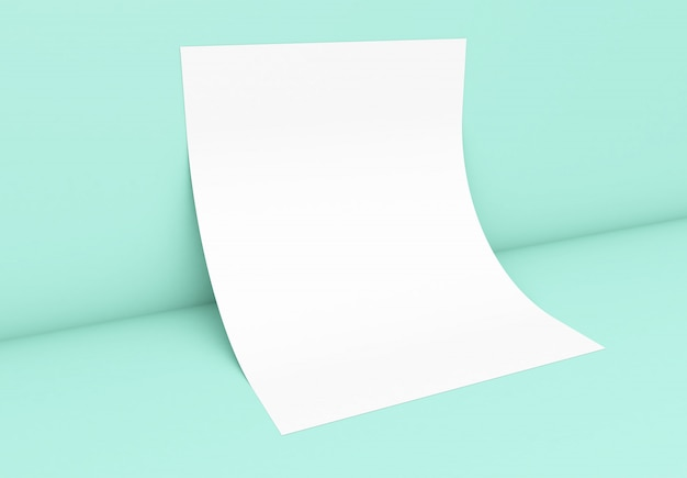 Poster on mint blue wall mockup