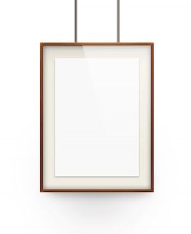 Плакат макет в деревянной рамке, изолированные на белом фоне.
