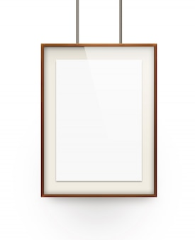 Poster mock up in the wooden frame isolated on white background.