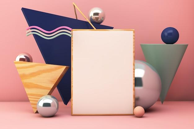 Poster mockup geometric elements