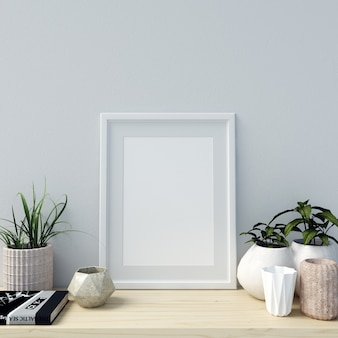 Poster mockup interior with beautiful decorations and plants