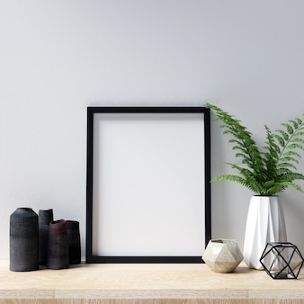 Poster mockup interior with beautiful decorations
