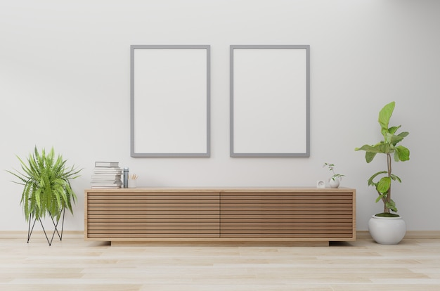 Poster mockup in modern living room with cabinet and plant