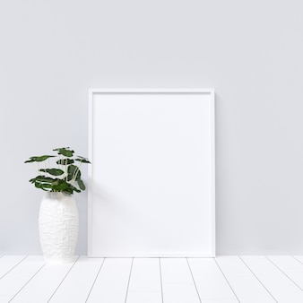 Poster Mockup on White Interior with Plant Decoration