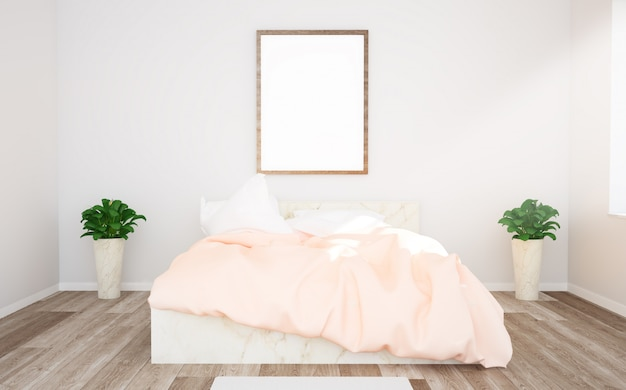 Poster mockup on pink bedroom