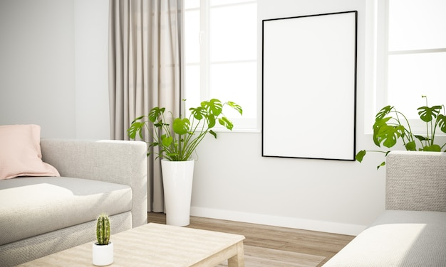 Poster mockup in scandinavian interior