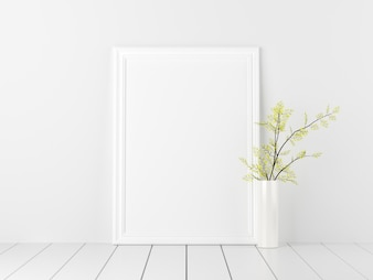 Poster Mockup with Flowers in White Valentine Decoration