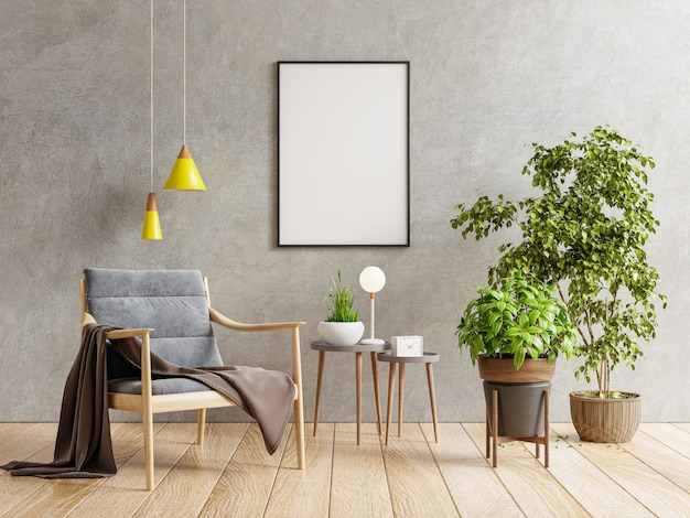 Poster mockup with vertical frame on empty dark concrete wall in living room interior with armchair.3d rendering