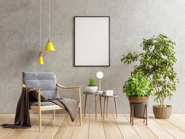 안락의자.3d 렌더링이 있는 거실 내부의 빈 어두운 콘크리트 벽에 수직 프레임이 있는 포스터 모형
