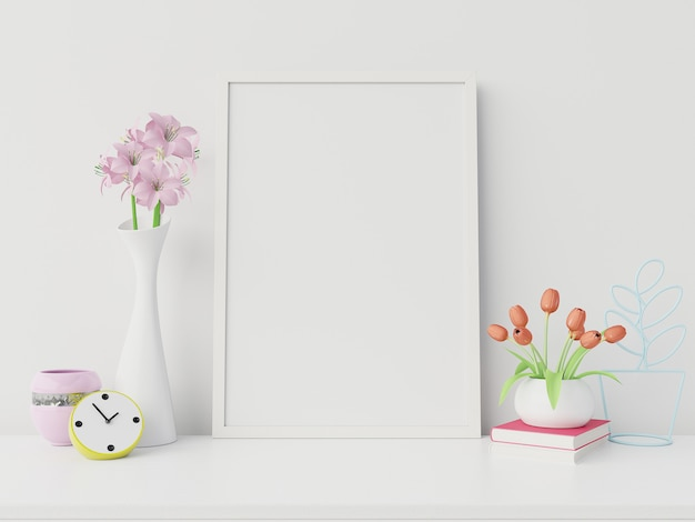 Poster mockup with vertical frame and right/left have book,flower white wall background,3d rendering
