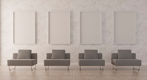 Poster mockup with vertical frame standing on floor in living room interior with grey sofa. 3d rendering