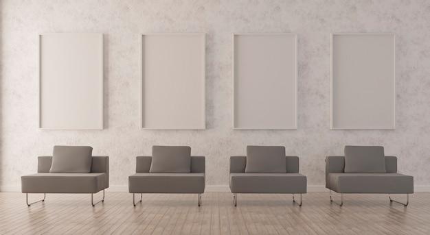 회색 소파가있는 거실 인테리어 바닥에 수직 프레임 서있는 포스터 모형. 3d 렌더링