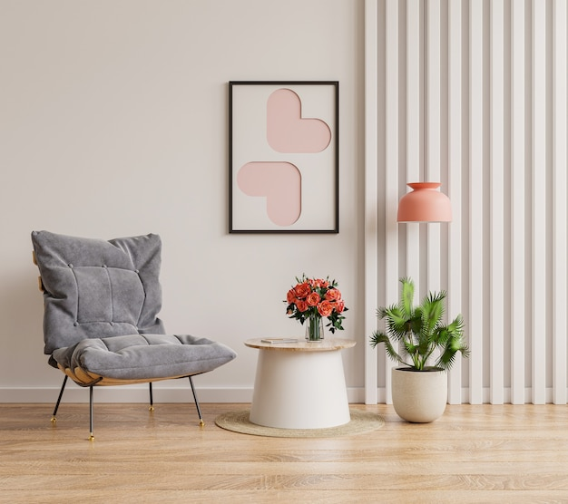 Poster mockup with vertical frames on empty white wall in living room interior with blue velvet armchair.3d rendering