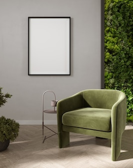 Poster mockup with vertical frames on light gray wall in living room interior with green velvet armchair and moss wall. 3d rendering