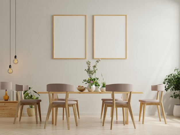 Poster in modern dining room interior design with white empty wall.3d rendering