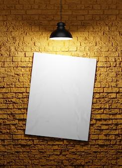 전구와 벽돌 벽 배경에 포스터. 3d 렌더링