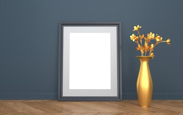 나무 바닥에 포스터, 인공 꽃과 황금 꽃병, 3d 렌더링, 모형 장면