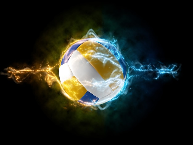 Poster for volleyball with electic waves in 3d rendering