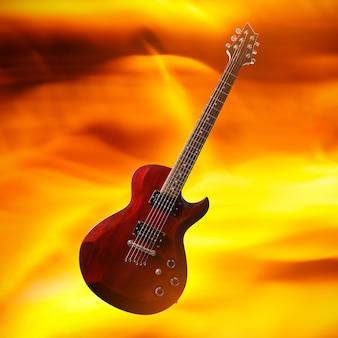 불타는 불꽃 배경에 기타와 함께 포스터입니다.