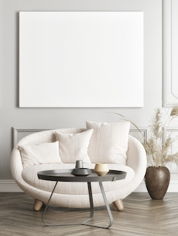 Poster with a comfortable armchair with home decoration