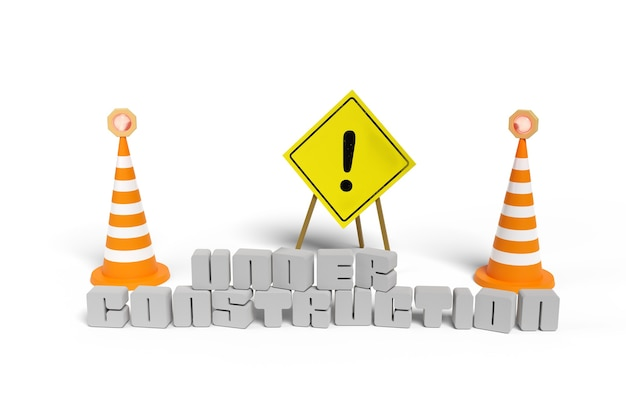 Poster with an exclamation mark next to two safety cones and the text