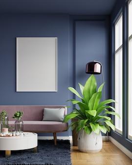 핑크 벨벳 소파와 거실 인테리어에 빈 진한 파란색 벽에 세로 프레임 포스터. 3d 렌더링