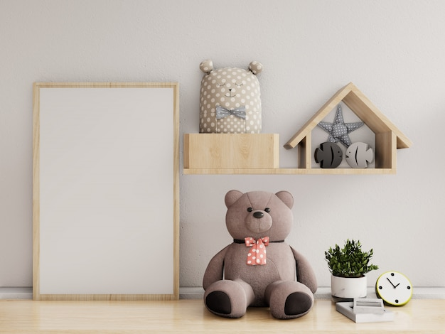 Posters in child room interior, 3d rendering