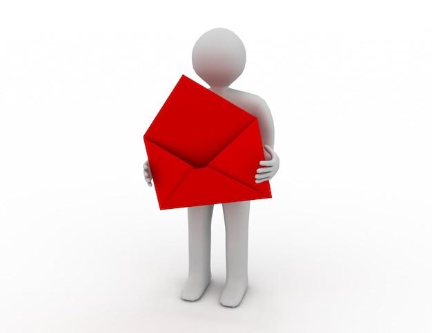 Почтальон с открытым конвертом. изолированное трехмерное изображение
