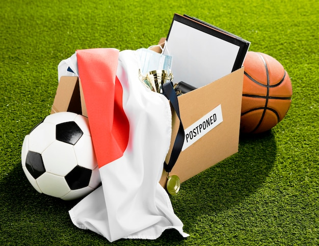 Postponed sports event objects composition in box