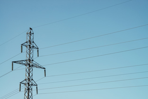 Posts with wires of high voltage on blue sky in sunlight.