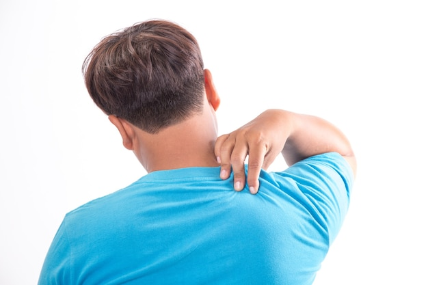 Posture concept man suffering from back pain while working