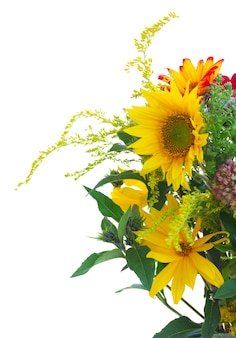 Posy of mixed autumn flowers close up  isolated on white background