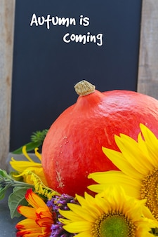 Posy of mixed autumn flowers with raw pumpkin and blackboard