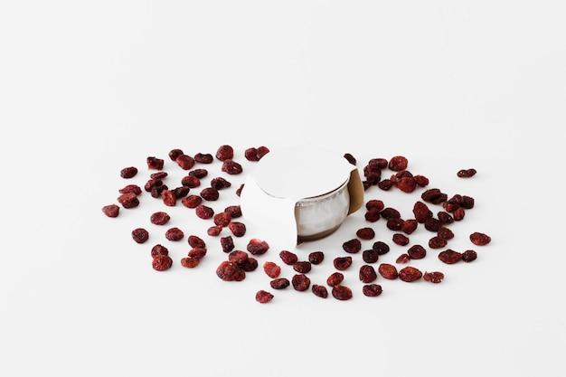 Pot between dried fruits