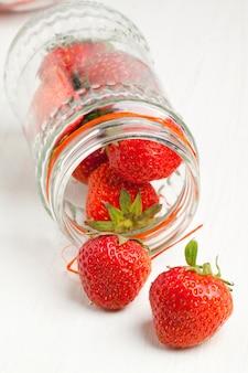 Pot of fresh strawberry