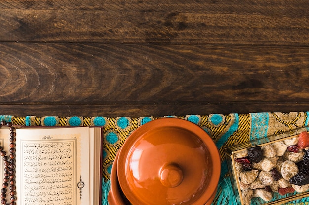 Pot near quran and sweets
